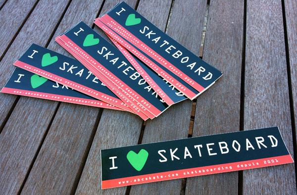 """stickers skateboard """"I LOVE SKATEBOARD"""" abcskate.com"""