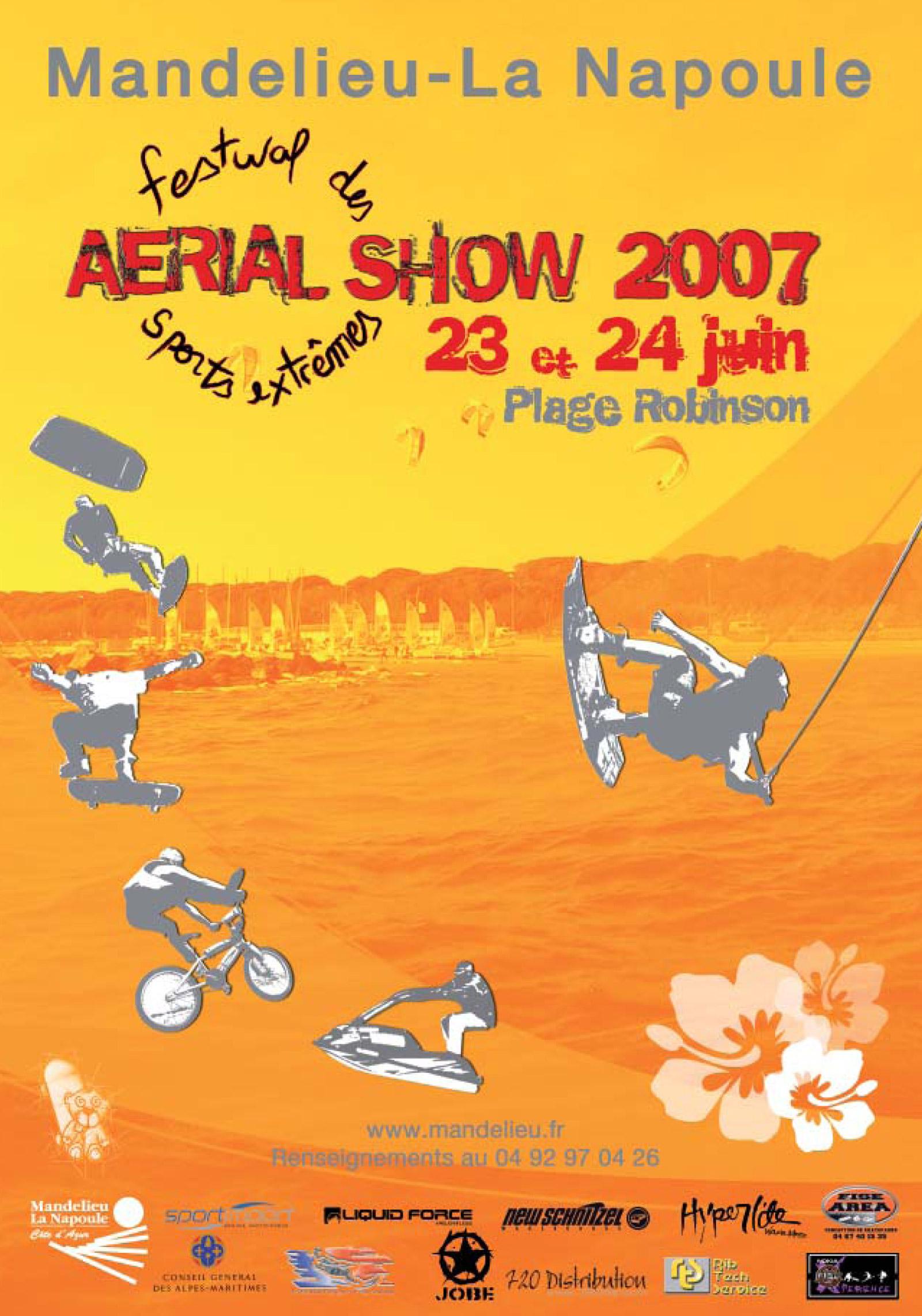 Affiche AERIAL SHOW 2007, Festival des sports extrêmes à Mandelieu