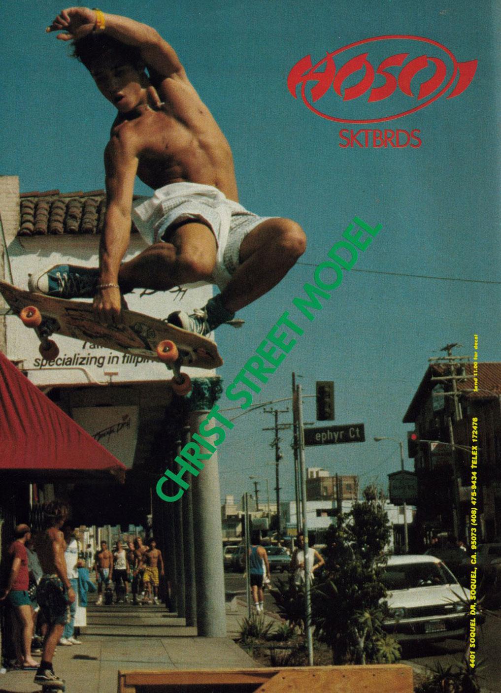 Publicité Hosoi Skateboards de Christian HOSOI année 1980-1990