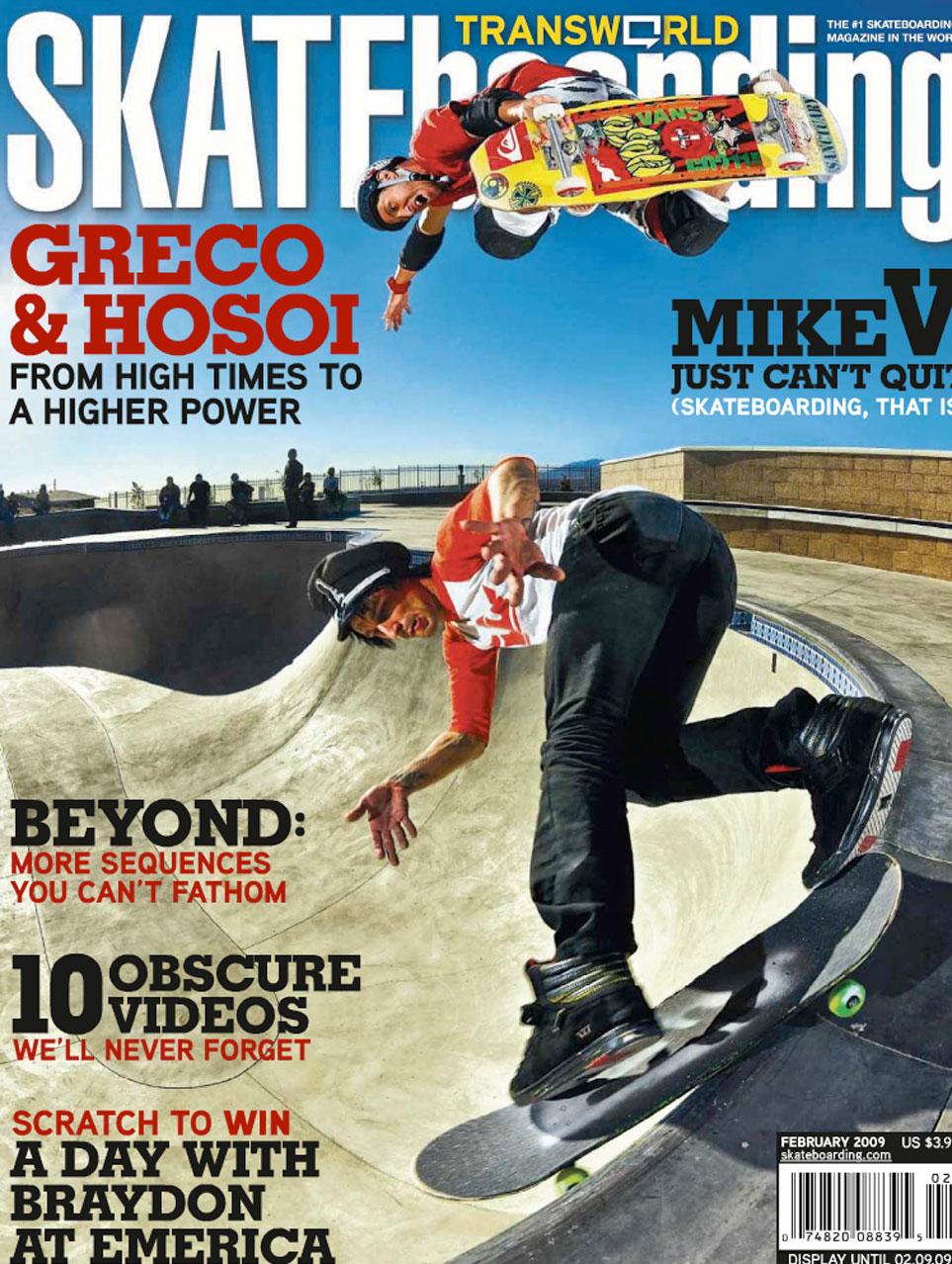 Couverture du magazine de skateboard TRANSWORLD 2009 avec Christian HOSOI