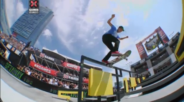 Nyjah Huston X Games 2013 Los Angeles : tailslide backside