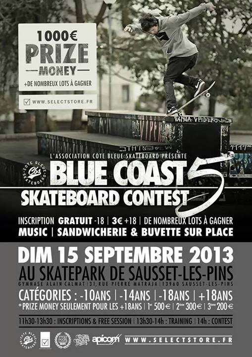 affiche BLUE COAST SKATEBOARD CONTEST 5