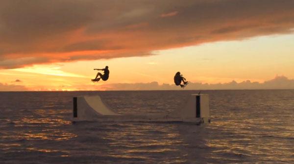 """film skate """"True to this"""" de Volcom Rampe au milieu de la mer"""
