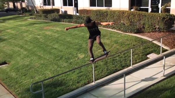 Nyjah Huston skateboarder : nose grind