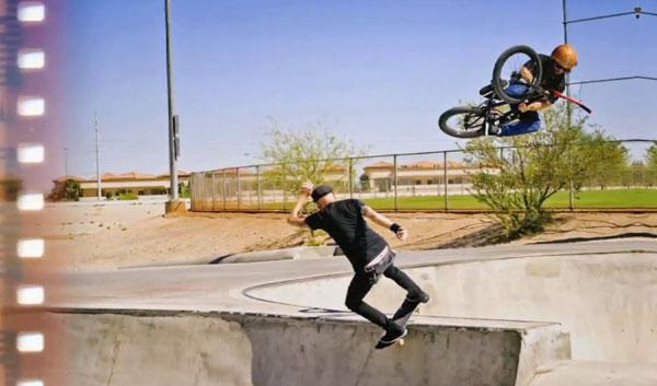 Patrick Melcher skateboarder : lipslide en duo