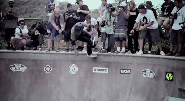 bowl de skate de Pedro Barros à Florianópolis au Brésil : rock slide, lipslide front