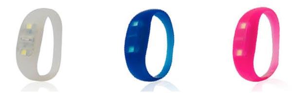 bracelet lumineux Led move : blanc bleu et rose