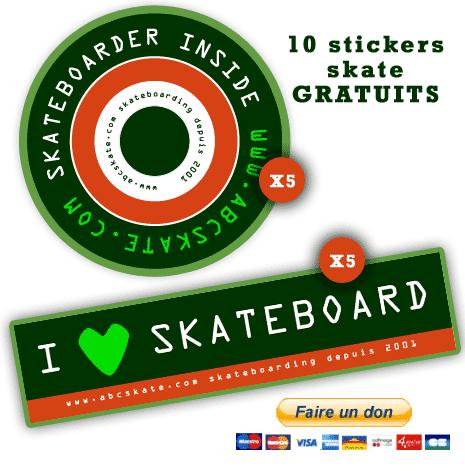 10 stickers skate GRATUITS : faites un don à Abcskate