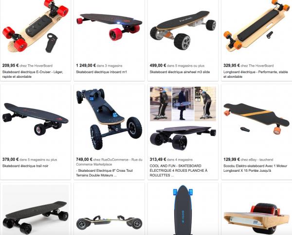 """Recherche Google pour """"Skateboard électriques"""""""