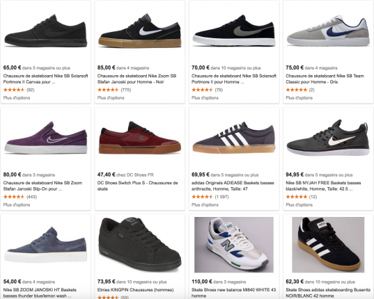 Google shopping : Skate shoes