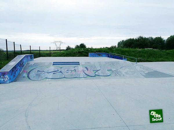 Skatepark Noisy-le-Roi : plateforme avec ledges, rail, marches et plans inclinés